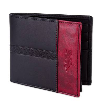 Handcrafted Leather Wallet in Black and Crimson from Peru