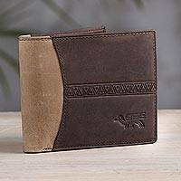 Leather wallet, 'Ancient Bird in Espresso' - Handcrafted Leather Wallet in Espresso and Tan from Peru