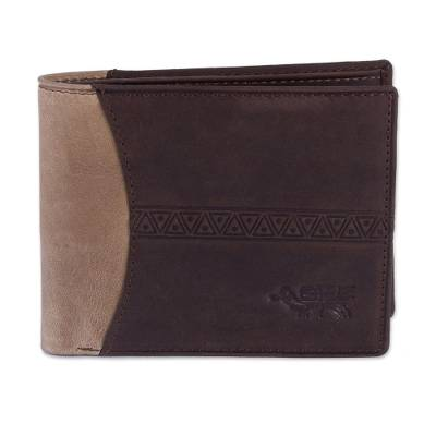 Handcrafted Leather Wallet in Espresso and Tan from Peru