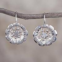 Sterling silver drop earrings, 'Floral Awakening' - 925 Sterling Silver Floral Drop Earrings from Peru