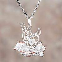Sterling silver filigree pendant necklace, 'Freedom of the Sky' - Sterling Silver and Copper Filigree Bird Necklace from Peru