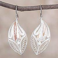 Sterling silver filigree dangle earrings, 'Leaves of the Forest' - Sterling Silver and Copper Filigree Earrings from Peru
