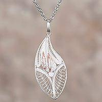 Sterling silver filigree pendant necklace, 'Leaf of the Forest' - Sterling Silver and Copper Filigree Necklace from Peru