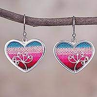 Sterling silver and wool blend dangle earrings, 'Love from Peru' - Striped Wool Blend and Sterling Silver Heart Earrings