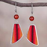 Agate and wool blend dangle earrings, 'Sunset Delight' - Agate and Wool Blend Dangle Earrings from Peru