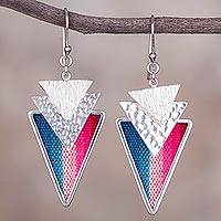 Sterling silver and wool blend dangle earrings, 'Colors of Peru' - Wool Blend and Sterling Silver Dangle Earrings from Peru