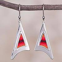 Sterling silver and wool blend dangle earrings, 'Red Dawn' - Wool Blend and Sterling Silver Dangle Earrings from Peru