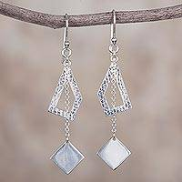 Sterling silver dangle earrings, 'Geometric Wonder' - 925 Sterling Silver Geometric Dangle Earrings from Peru
