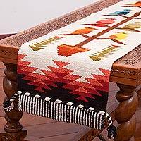 Wool blend table runner, 'Songs of the Countryside' - Handwoven Wool Blend Bird-Themed Table Runner from Peru