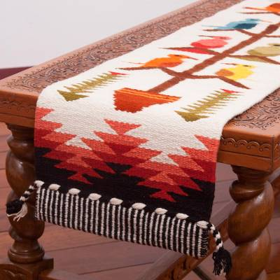 Wool blend table runner, Songs of the Countryside