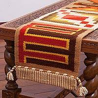 Wool blend table runner, 'Harmony in Form' - Handwoven Wool Blend Geometric Table Runner from Peru