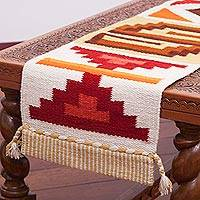 Wool blend table runner, 'Style of the Andes' - Handwoven Wool Blend Table Runner with Geometric Motifs