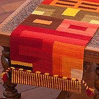 Wool blend table runner, 'Beauty in Asymmetry'
