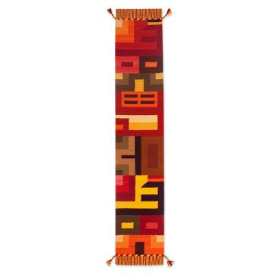 Wool blend table runner, 'Beauty in Asymmetry' - Handwoven Colorful Wool Blend Table Runner from Peru