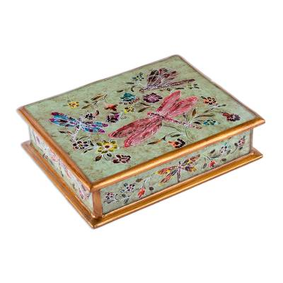 Reverse-painted glass decorative box, 'Dragonfly Fantasy' - Reverse-Painted Glass Dragonfly Decorative Box from Peru