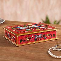Reverse-painted glass decorative box, 'Dragonfly World in Scarlet' - Reverse-Painted Glass Dragonfly Box in Scarlet from Peru