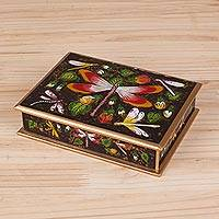 Reverse-painted glass decorative box, 'Dragonfly World in Brown' - Reverse-Painted Glass Dragonfly Box in Brown from Peru
