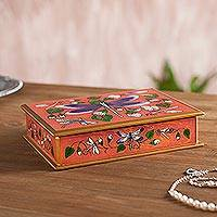 Reverse painted glass decorative box, 'Dragonfly World in Ginger' - Andean Reverse Painted Glass Dragonfly Box in Orange