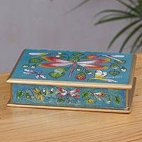 Reverse-painted glass decorative box, 'Dragonflies in Turquoise Skies'