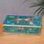 Reverse-painted glass decorative box, 'Dragonflies in Turquoise Skies' - Turquoise Andean Reverse Painted Glass Box with Dragonflies (image 2) thumbail