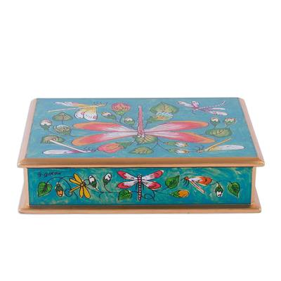 Reverse-painted glass decorative box, 'Dragonflies in Turquoise Skies' - Turquoise Andean Reverse Painted Glass Box with Dragonflies