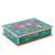 Reverse-painted glass decorative box, 'Dragonflies in Turquoise Skies' - Turquoise Andean Reverse Painted Glass Box with Dragonflies (image 2d) thumbail
