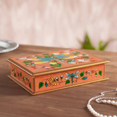 Reverse-painted glass decorative box, 'Dragonfly World in Pink' - Reverse-Painted Glass Dragonfly Box in Pink from Peru