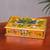 Reverse painted glass decorative box, 'Dragonfly World in Tangerine' - Andean Reverse Painted Glass Dragonfly Box in Tangerine (image 2) thumbail
