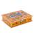 Reverse painted glass decorative box, 'Dragonfly World in Tangerine' - Andean Reverse Painted Glass Dragonfly Box in Tangerine thumbail