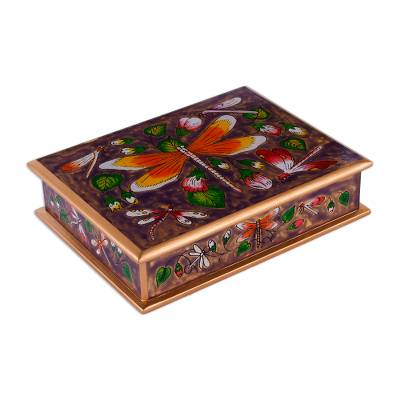Reverse-painted glass decorative box, 'Dragonfly World in Purple' - Reverse-Painted Glass Dragonfly Box in Purple from Peru