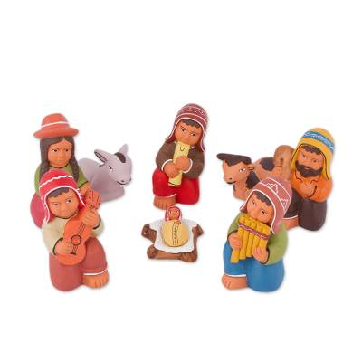 Hand-Painted Ceramic Andean Nativity Scene (9 Pieces)