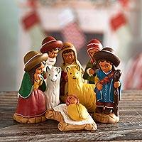Ceramic nativity scene, 'Andean Birth' (set of 8) - Ceramic Andean Nativity Scene with Llamas from Peru (8 Pcs)