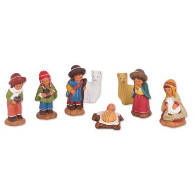 Ceramic Andean Nativity Scene with Llamas from Peru (8 Pcs)