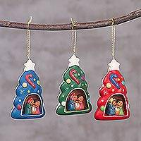 Ceramic ornaments, 'Colorful Pines' (set of 3) - Three Colorful Tree-Shaped Ceramic Ornaments from Peru