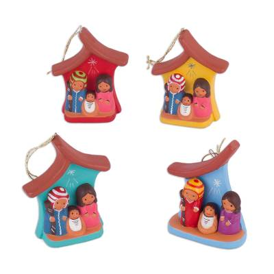 Four Hand-Painted Ceramic Nativity Ornaments from Peru