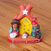 Ceramic nativity scene, 'Light of the Star' - Ceramic Nativity Scene Decorative Accent from Peru
