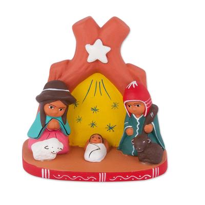 Ceramic Nativity Scene Decorative Accent from Peru