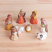 Ceramic nativity scene, 'Arabic Nativity' (set of 8) - Hand-Painted Ceramic Arabic Nativity Scene from Peru