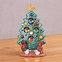 Ceramic nativity scene, 'Birth Beneath the Green Tree' - Ceramic Christmas Nativity Scene in Green from Peru