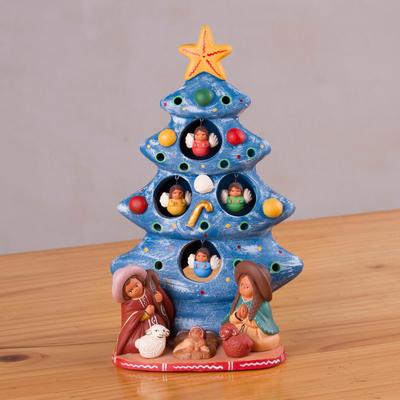 Ceramic Christmas Nativity Scene In Blue From Peru Birth Beneath The Blue Tree