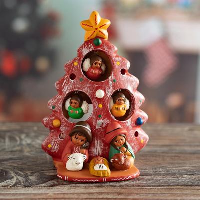 Ceramic Christmas Nativity Scene In Red From Peru Birth Beneath The Red Tree