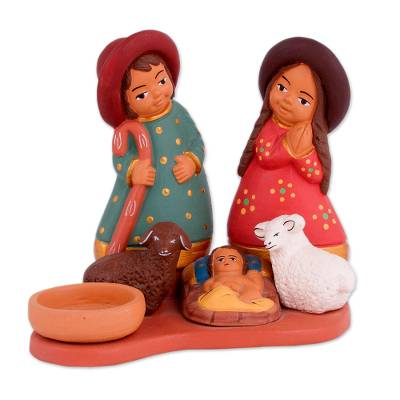 Hand-Painted Ceramic Andean Nativity Scene from Peru
