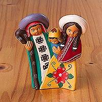 Ceramic decorative accent, 'Sweet Family' - Hand-Painted Ceramic Andean Decorative Accent from Peru