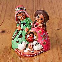 Ceramic decorative accent, 'Nativity Light' - Ceramic Nativity Scene Decorative Accent from Peru