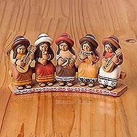 Ceramic decorative accent, 'Andean Chorus' - Ceramic Decorative Accent of Andean Musicians from Peru