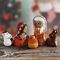Ceramic nativity scene, 'Apache Nativity' (set of 5) - Painted Ceramic Native American Nativity Scene from Peru