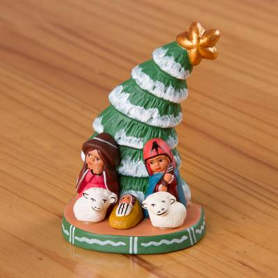 Hand Painted Christmas Ceramic Nativity Scene From Peru Happy Beneath The Pine