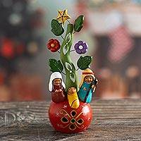 Ceramic nativity scene, 'Sweet Walk of Life' - Christmas-Themed Ceramic Nativy Scene from Peru