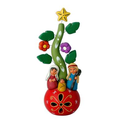 Christmas-Themed Ceramic Nativy Scene from Peru