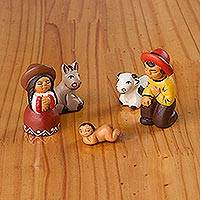 Ceramic nativity scene, 'Arequipa Nativity' (set of 5) - Hand-Painted Cultural Ceramic Nativity Scene from Peru